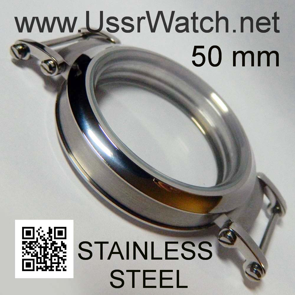 Big 50 mm New Stainless Steel WATCH Case Inner Diameter from 38,0 to 41,0 mm