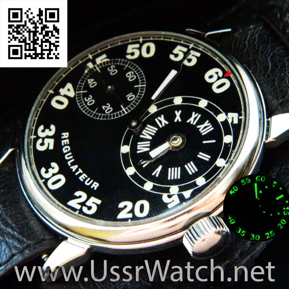 Black Regulateur Molnija USSR СССР MILITARY Wristwatch Regulator WW2