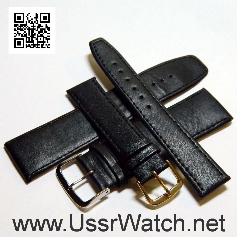 Black WATCH LEATHER BAND STRAP 8 mm, 10 mm, 12 mm, 14 mm, 16 mm, 18 mm, 20 mm, 22 mm, 24 mm, 26 mm, 28 mm, 30 mm, 32 mm, 34 mm