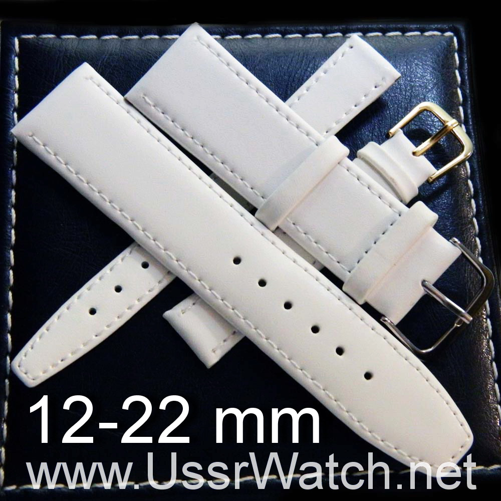White WATCH LEATHER BAND STRAP 12 mm, 14 mm, 16 mm, 18 mm, 20 mm, 22 mm