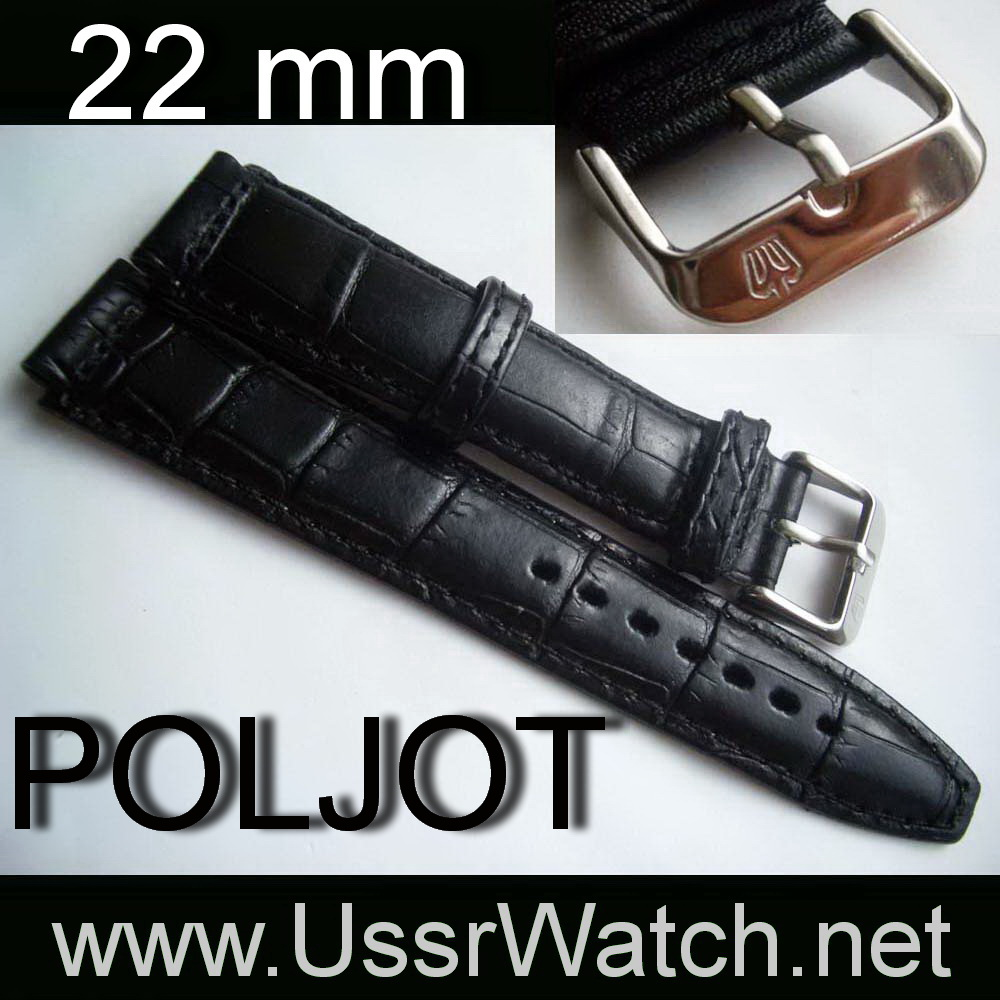 Original POLJOT Black BAND STRAP from genuine leather with Stainless Steel buckle 22 mm