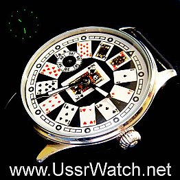 Lucky Las Vegas POKER Playing Card Hight Quality MENS WATCH Stainless steel case