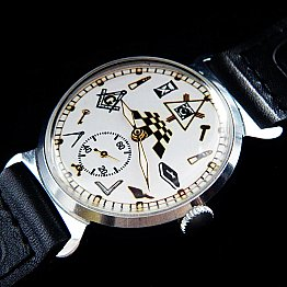 New Old Stock ZIM MASONIC MAÇONNIQUE WRIST WATCH White fluorescent DIAL