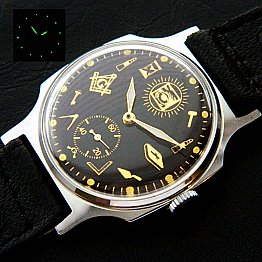 New Old Stock ZIM MASONIC MAÇONNIQUE WRIST WATCH Black-Gold fluorescent DIAL