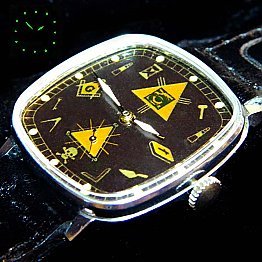 New Old Stock ZIM MASONIC MAÇONNIQUE WRIST WATCH Black fluorescent DIAL
