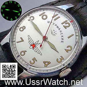 Jurij Gagarin SHTURMANSKIE USSR Air Force Poljot 1MWF 17 JEWELS White, with hacking mechanism.