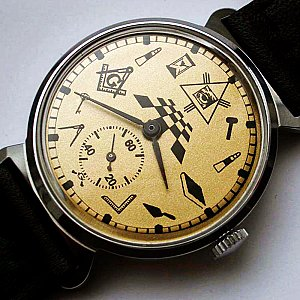 New Old Stock ZIM MASONIC MAÇONNIQUE WRIST WATCH GOLD DIAL